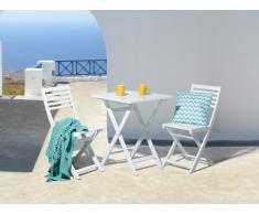 Gartenmöbel Weiss - Balkonmöbel - Terrassenmöbel - Holzmöbel - Tisch + 2 Stühle – FIJI