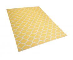 Teppich gelb 160 x 230 cm marokkanisches Muster zweiseitig Kurzflor AKSU
