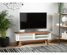 Lowboard weiss/ dunkler Holzfarbton TOLEDO