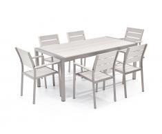 Aluminium Gartenmöbel Set weiss - Tisch 180cm - 6 Stühle - Polywood - VERNIO