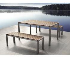 Aluminium Gartenmöbel Set braun - Tisch 180cm - 2 Bänken - Polywood - NARDO