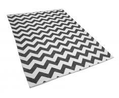 Teppich schwarz/weiß mit Zickzackmuster zweiseitig 160 x 230 cm Kurzflor HAKKARI