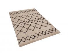 Teppich beige/schwarz 140 x 200 cm Shaggy HAVSA