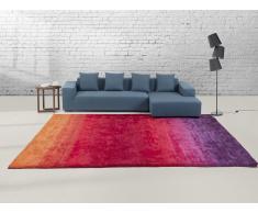 Teppich violett-rot 80 x 150 cm Kurzflor DINAR