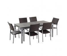 Granit Gartentisch 180 cm - 6x Rattan Stuhl - Esstisch - Rattanmöbel - Gartenmöbel - TORINO schwarz geflammt
