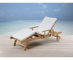 Gartenliege mit Auflage, beige - Holzliege - Sonnenliege - Liegestuhl - JAVA