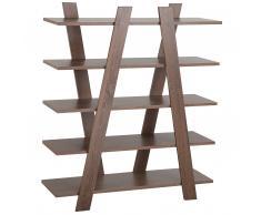 Bücherregal dunkler Holzfarbton 5 Fächer ESCALANTE