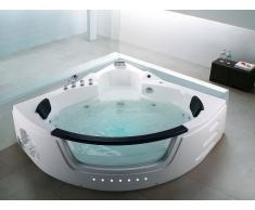Whirlpool-Badewanne Weiss Eckmodell mit LED MARTINICA