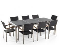Gartenmöbel schwarz geflammt - Granit Edelstahltisch 220cm dreifach mit 8 x Rattan Stühle - GROSSETO