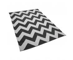 Teppich schwarz-weiß mit Zickzackmuster 160 x 230 cm Kurzflor KONARLI