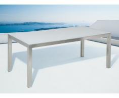 Gartentisch Edelstahl/Glas weiss 180 x 90 cm GROSSETO