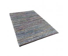Teppich blau 140 x 200 cm Kurzflor ALANYA