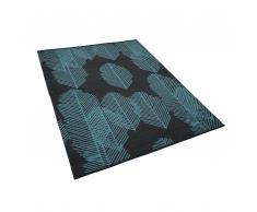 Outdoor Teppich dunkelgrau mit Blättermuster 140 x 200 cm zweiseitig MEZRA