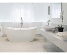 Freistehende Badewanne Weiss - Acrylwanne oval - mit Überlauf - Standbadewanne - ANTIGUA
