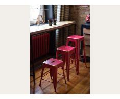 Hocker Rot-Golden - Sitzhocker - Tritthocker - Schemel - 38x38x46 cm - CABRILLO