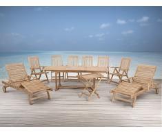 Holz Gartenmöbel Set - Gartentisch - 6x Stuhl - 1x Teetisch - 2x Liege - RIVIERA