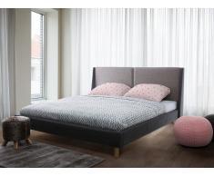 Bett Dunkelbeige-Grau - Doppelbett 160x200 cm - Ehebett - Polsterbett - VALENCE