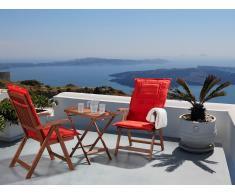 Gartenmöbel - Balkonmöbel - Holzmöbel - Tisch mit 2 Stühlen und 2 Terracotta Hell Auflagen - TOSCANA