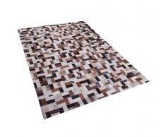 Teppich braun-beige 160 x 230 cm Leder CESME