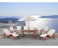 Gartenmöbel Set aus Holz - Tisch eckig - 6x Stuhl - 2x Liege - Sonnenschirm - TOSCANA beige