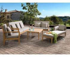 Gartenmöbel Braun - Holzmöbel - Gartentisch + 2 Bänke + Gartensessel + Recamiere - PATAJA