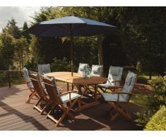 Gartenset Holz mit Auflagen hellblau Sonnenschirm MAUI