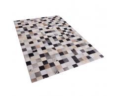 Teppich braun-beige 160 x 230 cm Leder RIZE