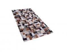 Teppich braun-beige 80 x 150 cm Leder CESME