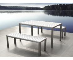 Gartenmöbel Set Kunstholz weiss 2 Bänke NARDO