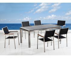 Gartenmöbel grau poliert - Granit Edelstahltisch 200cm dreifach mit 6 x Stühle mit Textilsitzfläche - GROSSETO