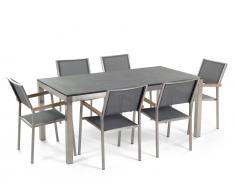 Gartenmöbel Set Naturstein schwarz geflammt 180 x 90 cm 6-Sitzer Stühle Textilbespannung grau GROSSETO
