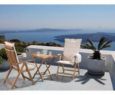 Gartenmöbel - Balkonmöbel - Holzmöbel - Tisch mit 2 Stühlen und 2 Creme Auflagen - RIVIERA