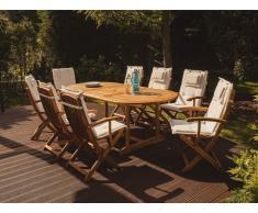 Gartenstuhl Holz mit Auflage beige MAUI