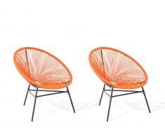 Rattanstuhl orange 2er Set Kunststoff ACAPULCO