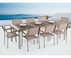Gartenmöbel - Edelstahltisch 220 cm mit Holzplatte mit 8 beigen Stühlen - GROSSETO