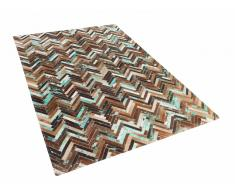 Teppich Braun-Beige-Blau - Patchwork - Lederteppich - Kuhfell - Läufer - 140x200cm - AMASYA