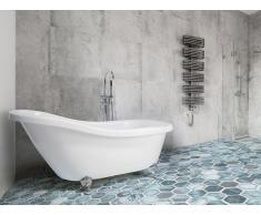Freistehende Badewanne Weiss - Acrylwanne oval - mit Überlauf - Standbadewanne - CAYMAN