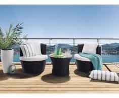 Gartenmöbel Set Rattan braun 2-Sitzer Auflagen weiss CAPRI
