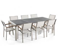 Gartenmöbel Set Naturstein schwarz geflammt 220 x 100 cm 8-Sitzer Stühle Textilbespannung weiss GROSSETO