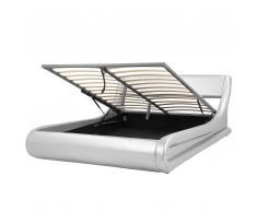 Bett Kunstleder Silber mit Bettkasten hochklappbar 160 x 200 cm AVIGNON