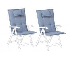 Auflage für Gartenstuhl 2er Set blau TOSCANA