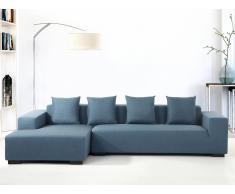 Ecksofa Polsterbezug blau rechtsseitig LUNGO
