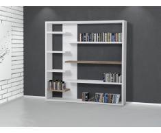 Bücherschrank - Bücherregal - Regal - Standregal - Wandregal - weiss-braun - TRENTON