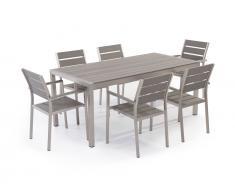 Gartenmöbel Set Kunstholz grau 6-Sitzer VERNIO