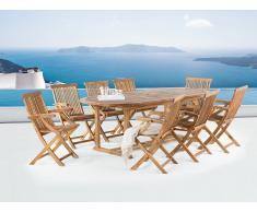 Gartenmöbel aus Akazienholz - ausziehbarer Gartentisch 180/220x74 cm + 8 Stühle - JAVA