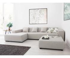 Hocker beige - Ottomane - Sitzhocker - Sitzwürfel - Fußhocker - Stoff - LUNGO