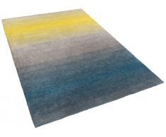Teppich grau-blau-gelb - 160x230 cm - Shaggy - Polyester - DINAR