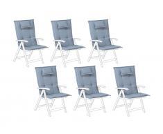 Auflage für Gartenstuhl 6er Set blau TOSCANA