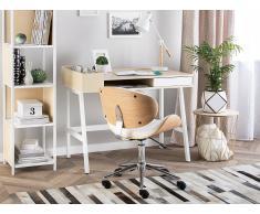 Schreibtisch weiss/heller Holzfarbton 100 x 55 cm PARAMARIBO