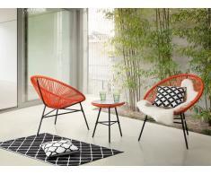 Gartenmöbel Orange - Balkonmöbel - Terrassenmöbel - Tisch mit 2 Stühlen - ACAPULCO